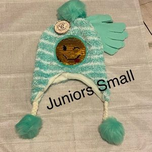 Juniors Glove and Beanie Set Poofs Small Mermaid